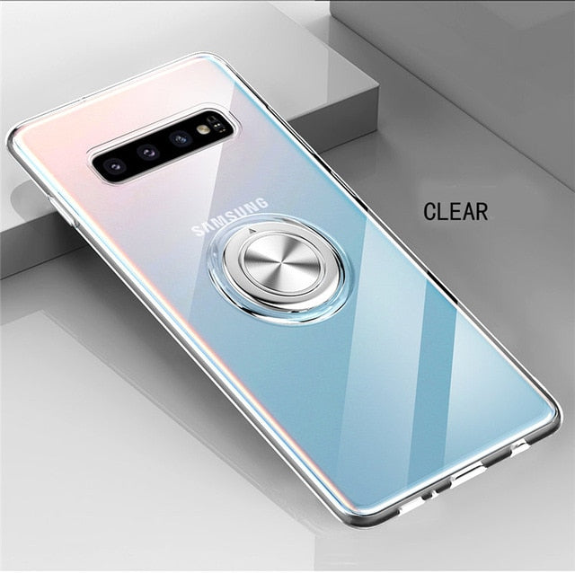 Phone Case - Transparent Soft Silicone Ring Holder Case For Samsung Galaxy S10e S10 5G S9 S8 Plus Note 10plus 5G 10 9 8 A7 A9 2018 M20 M30