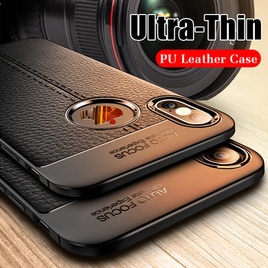 Phone Case - Luxury Shockproof PU Leather Silicone Case For iPhone X XR XS MAX 8 7 6 6s Plus