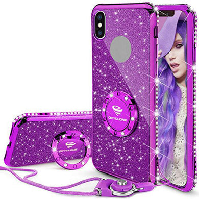 Phone Case - Bling Diamond Ring Holder Case For iPhone X 8 8Plus 7 7Plus