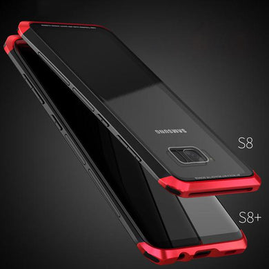 Phone Case - Luxury 2 in 1 Metal Aluminum Case + 9H Tempered Glass Back Cover For Samsung