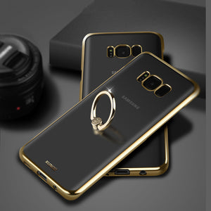Phone Case - Luxury Shockproof Plating Case With Ring Holder For Samsung S8 Plus