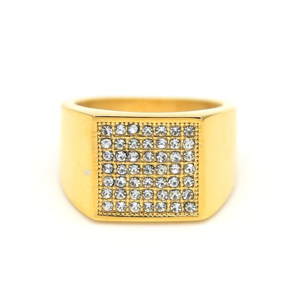 18k Iced Square Ring