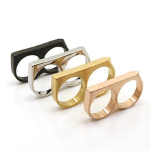 Double Finger Ring (Gold, White Gold, Rose Gold, Black)
