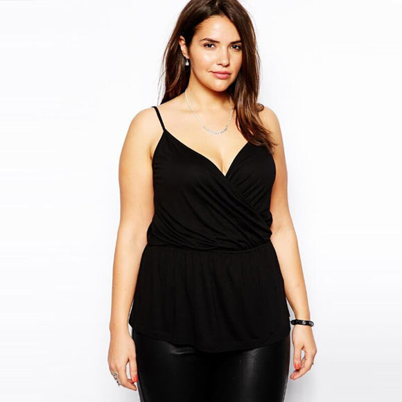 Camis Loose Casual Peplum Top black