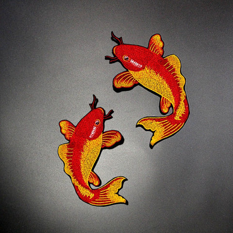 1 Pair/2 Piece Red Carp Fish Embroidered Iron-on Patches