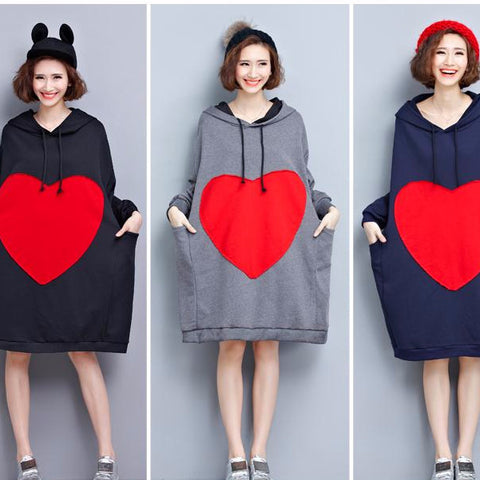 Big Heart Oversize Hoodie Dress