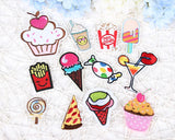 [SET]  12 Piece Munchies Food Embroidered Iron-on Patches
