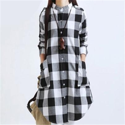 Flannel Long Sleeve Button-up Dress