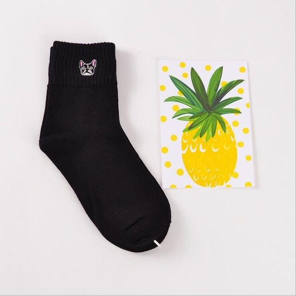 1 Pair Embroidered Animals Socks