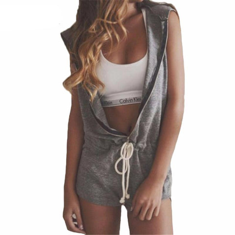 Sleeveless Hooded Party Romper