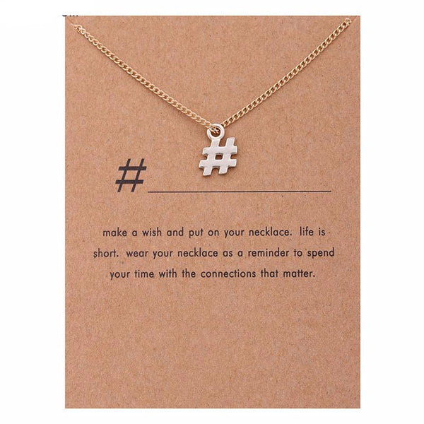 "Make-a-Wish ""# Hashtag"" Pendant Short Necklace"