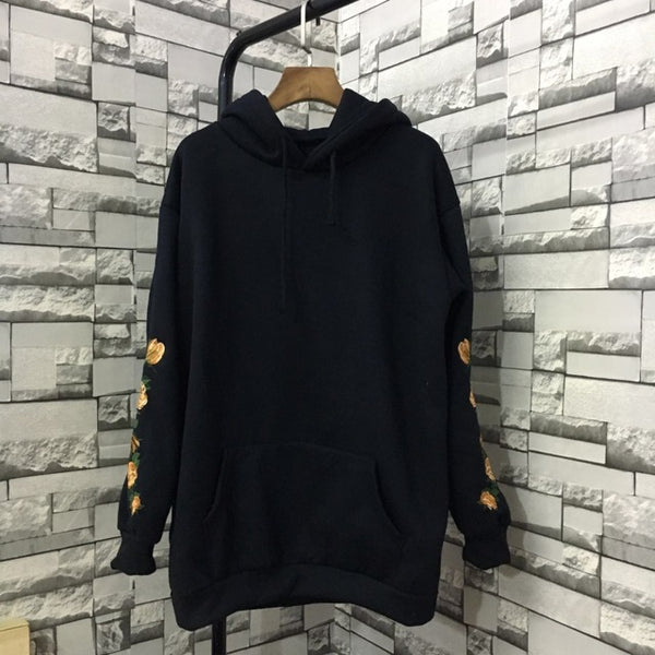 Gold Rose Embroidered Hoodie