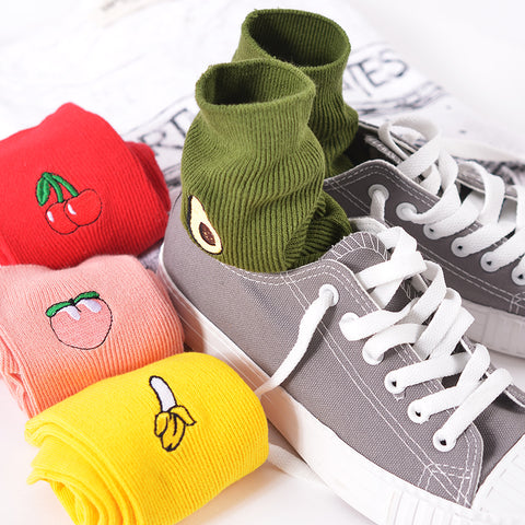 Assorted Fruit Embroidered Socks