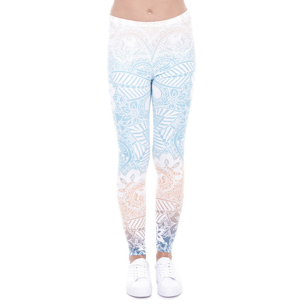 Winter Gradient Mandala Mint Print Legging