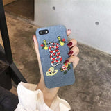 Embroidery Bee/Snake Denim iPhone Case