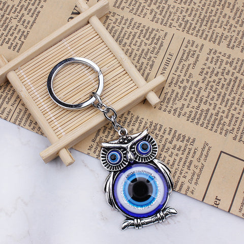 Protection Blue Evil Eye Owl Charm Keychain