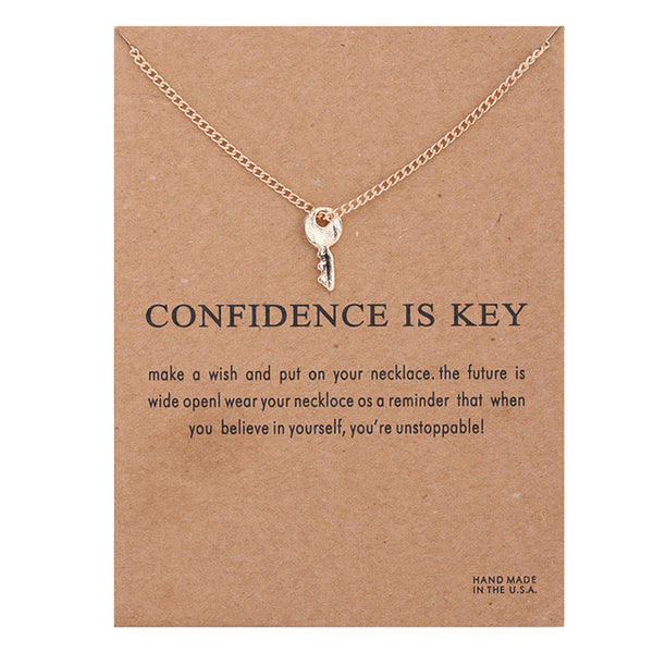 "Make-a-Wish ""Confidence is Key"" Pendant Short Necklace"