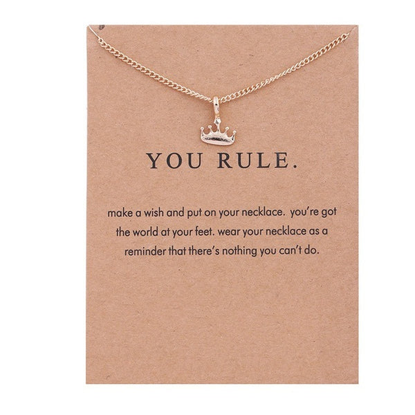 "Make-a-Wish ""You Rule"" Crown Pendant Short Necklace"