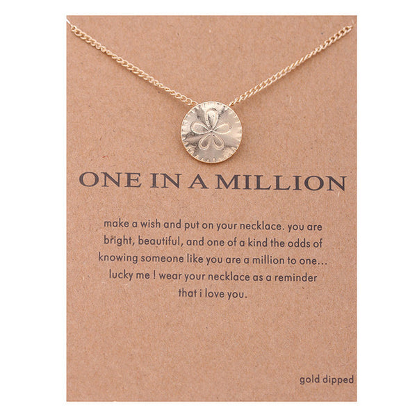 "Make-a-Wish ""One In A Million"" Sand Dollar Pendant Short Necklace"