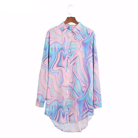 Pastel Psychedelic Chiffon Loose Long Sleeve Blouse