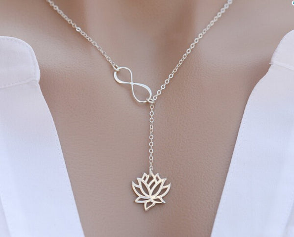 Infinity Lotus Lariat Pendant Necklace