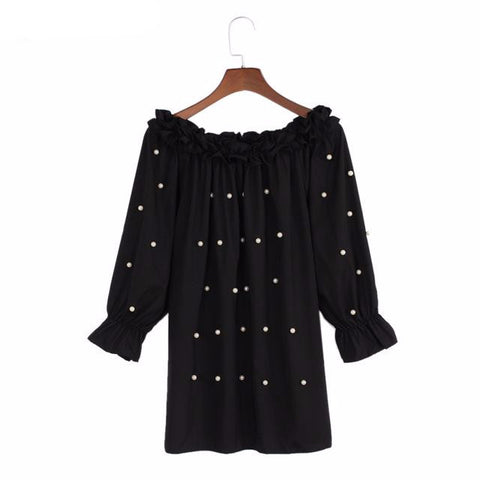 Lolita Blouse Pearls Bead Off Shoulder Ruched Puff Long Sleeve Shirt