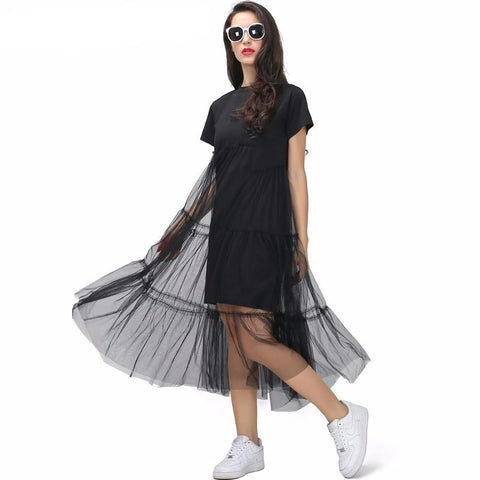 Pleated Tulle T-Shirt Dress