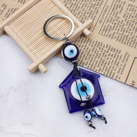 Protection Blue Evil Eye House Glass Charm Keychain