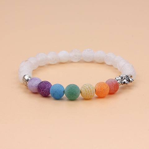 Healing Rainbow 7 Colorful Chakra Natural Stone Beads Bracelet