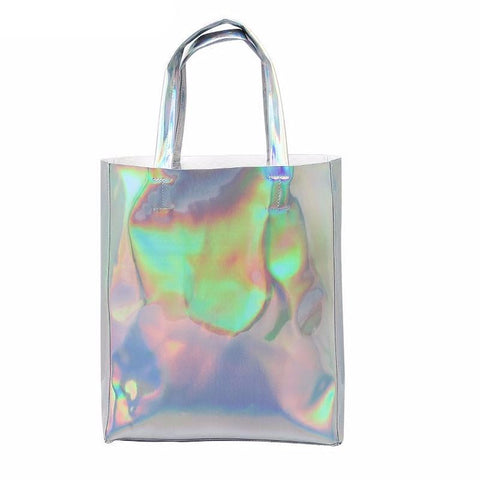 Faux Leather Hologram Tote Bag