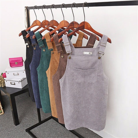 High Waist Corduroy Overalls Skirts