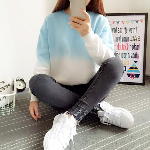 Loose Color Gradient Longsleeve Sweatshirt