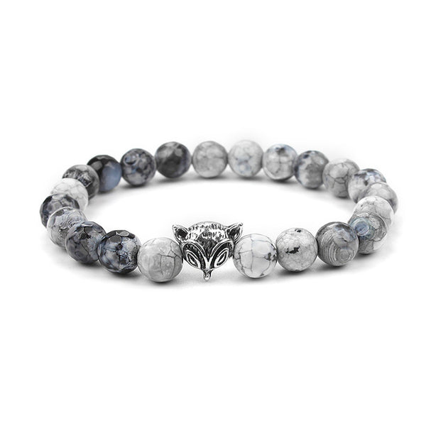 Natural Silver Stone Beads Fox Bracelet
