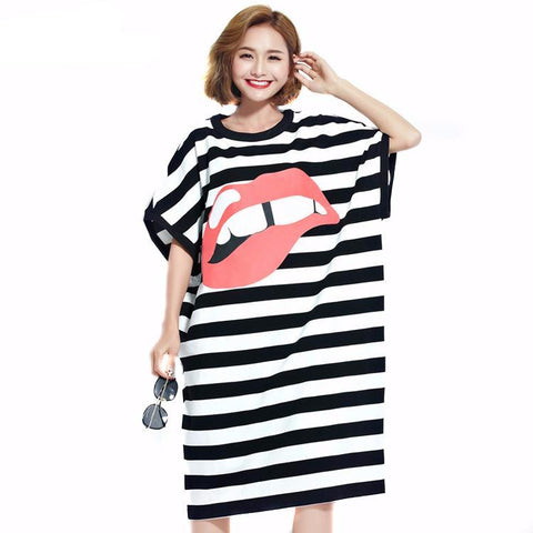 Red Lip Striped Oversize T-Shirt Dress