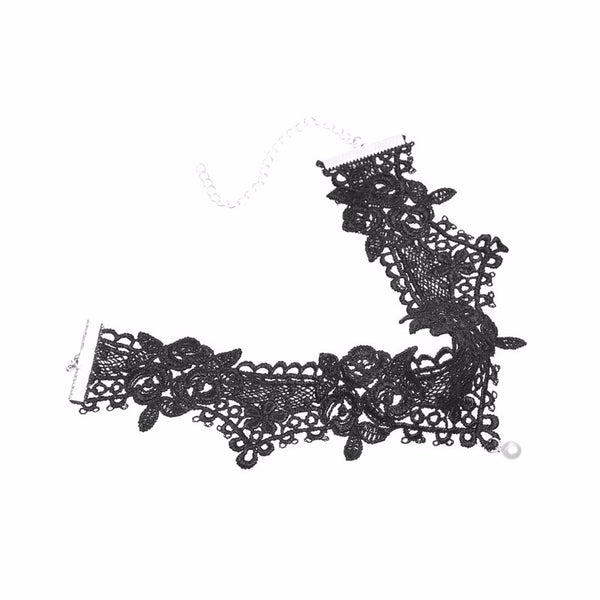 Black Hollow Out Lace with Pearl Choker