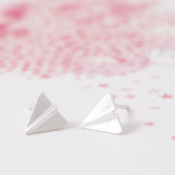 Origami Plane Stud Earrings