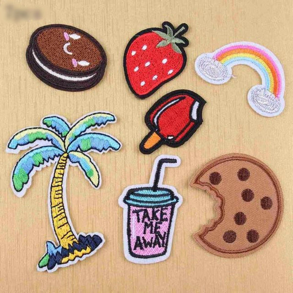 [SET] 7 Piece Mix Drinks Cookies Embroidered Iron-on Patches