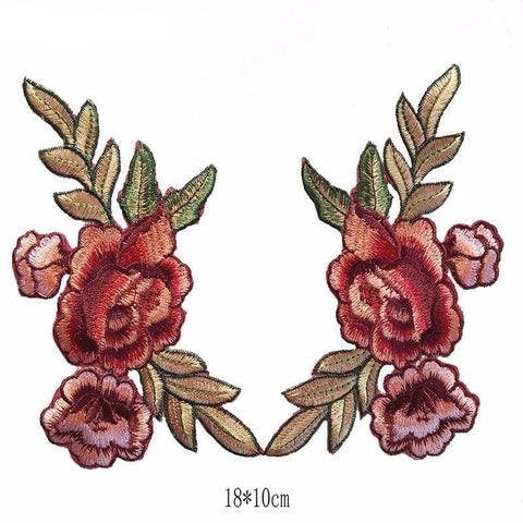 1 Pair/2 Piece Pale Roses Embroidered Iron-on Patches