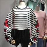 Floral Embroidered Striped Long Sleeve Oversize Sweatershirt