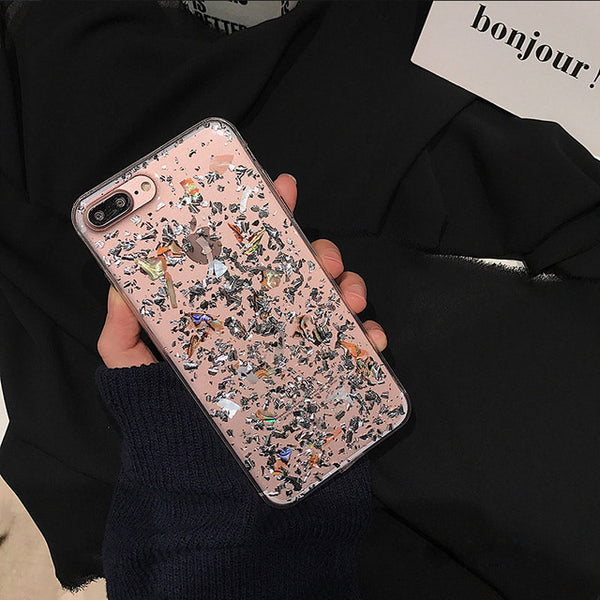 Glitter Shell Silver Tinfoil iPhone Case