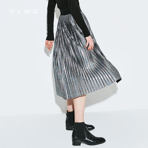 Metallic Silver Pleated Knee Length Skirt