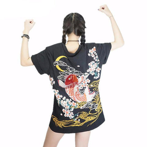 Dragon & Koi Embroidered T-Shirt