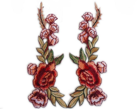 1 Pair/2 Piece Rose Bundled Embroidered Iron-on Patches