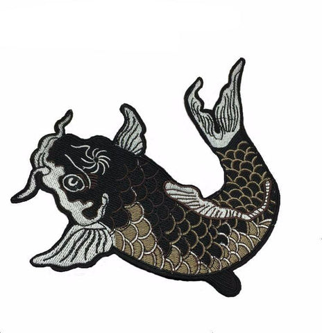 Large Dark Koi Embroidered Iron-on Patches