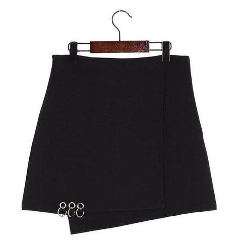 Pierced Ring Asymmetrical Mini Skirt