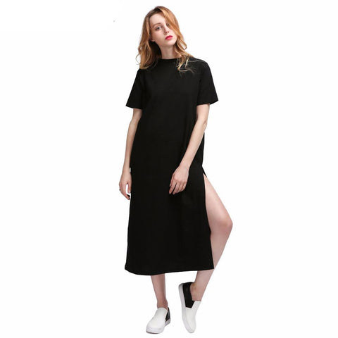 Basic High Slit T-Shirt Dress