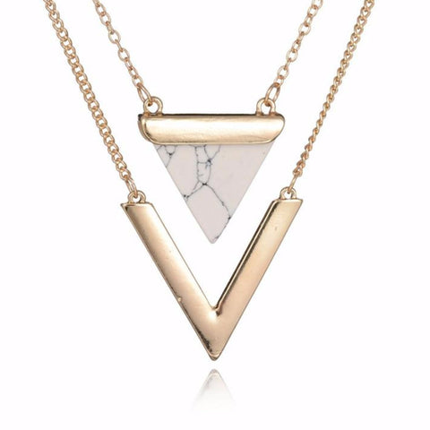 Faux Marble Stone Chevron Pendant Necklace