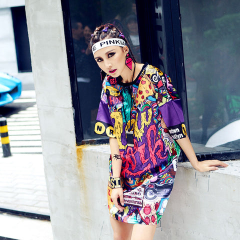 Bright Graffiti Loose T-shirt Dress