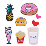 [SET] 9 Piece Mix Cartoon Foods Embroidered Iron-on Patches