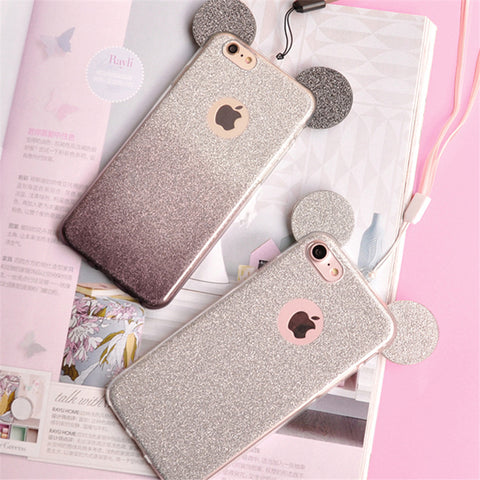 Mickey & Minnie Glitter Mouse Ears iPhone Case
